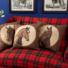 Medallion Horse Pillow Asst 3 Designs © Two's Company