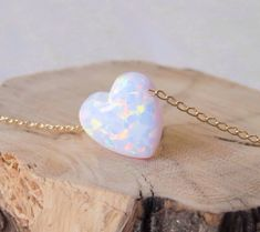 Opal necklace heart necklace gold necklace opal heart by miniLALI