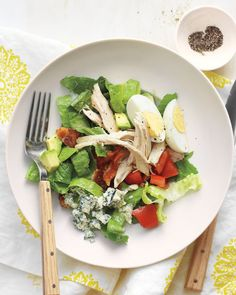 Light and Easy Cobb Salad - Martha Stewart Recipes - Eggs, Chicken, Bacon, Avocado, Tomato on Lettuce with Ranch Dressing