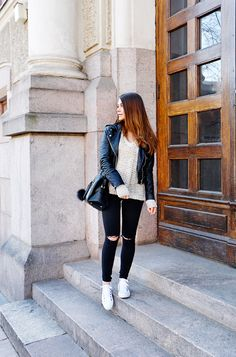 Casual basics - black, white and beige