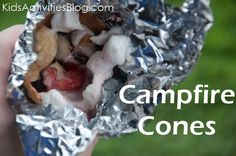 Campfire Cones -  Ingredients we needed for our Fruit & Smore Cones:   Chopped Fruit. The kids chose strawberries and bananas – but I bet any berries, even tart apples, would be perfect!  Mini-Marshmallows.  Chocolate Chips. We used semi-dark, chocolate chips – love the extra antioxidants.  Waffle Ice-Cream Cone.  Unfortunately, not any icecream cone will work – we tried    I'd love to experiment with waffle bowls next time.  Tin Foil.  To wrap your cone once you have it stuffed to capacity.