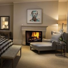 I love a fireplace in the bedroom...it's the perfect way to warm a chilly spring bedroom. #interiors #bespoke #instagram #interiordesign #livingwell #wynterinteriorsinc #charmainewynterinteriors #bedroom #southlake #dallas #Keller #westlake #colleyville #texas #deepellum #room #bgg #livingwell #like4follow #thursday #throwback #fireplace #calm