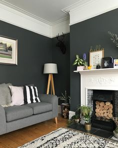 Living Rooms With Dark Grey Feature Walls Yellow And Room Accessories Pin By Daynise Joseph On In 2019 Pinterest Dulux Home Interior Design