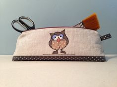 Large Pencil Case, Make-up bag, Structured Zip-Pouch, For Bits and Bobs, Girls Case, Handmade