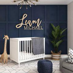 Grey And Navy Nursery, Dark Nursery, Baby Blue Nursery, Baby Boy Room Decor, Baby Room Design, Baby Boy Rooms, Baby Room For Boys, Baby Room Grey, Baby Nursery Ideas For Boy