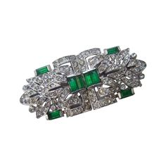 Trifari Art Deco Emerald & Diamante Crystal Clip-Mate Brooch c 1940 | From a unique collection of vintage brooches at https://www.1stdibs.com/jewelry/brooches/brooches/