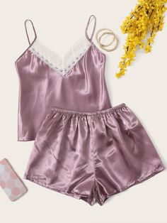 To find out about the Lace Trim Satin Cami & Shorts PJ Set at SHEIN, part of our latest Night Sets ready to shop online today! Jolie Lingerie, Sexy Lingerie, Pijamas Women, Family Christmas Pajamas, Cute Sleepwear, Pajama Outfits, Satin Cami, Cute Pajamas, Tumblr Outfits