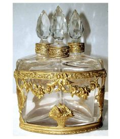 Antique Perfume Caddy Gilt Crystal