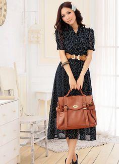 Vintage Boho Dots Decorated Long Dresses Black