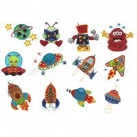 Out of this world outer space rockets aliens space ships and monsters applique machine embroidery designs