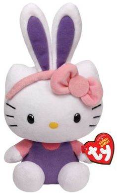 Ty Beanie Babies 8'' Plush HELLO KITTY Easter Bunny with Purple Ears ~NEW~ HAVE IT