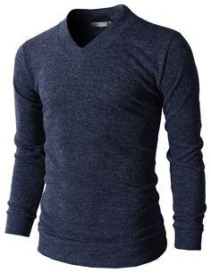 Doublju Mens Casual Slim Fit V-Neck Pullover Sweater With Long Sleeve (KMOSWL035) #doublju