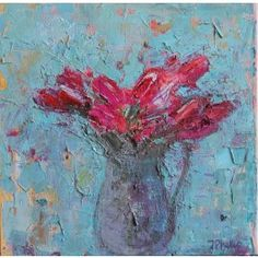 Bright pink flowers in a grey vintage jug on an aqua blue background. Pigment and oil on canvas. Dimensions 46 x 46 x cm as sold in frame x 30 cm unframed). Aqua Blue, Bright Pink, Blue Bowl, White Magic, Affordable Art, Summer Art, Blue Backgrounds, Lovers Art