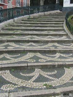 Calçada Portuguesa hand made stone pavement,