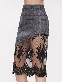 Shop Grey Plaid Embroidered Mesh Trim Slit Back Skirt online. SheIn offers Grey Plaid Embroidered Mesh Trim Slit Back Skirt & more to fit your fashionable needs. Look Fashion, Hijab Fashion, Diy Fashion, Fashion Dresses, Womens Fashion, Fashion Design, Skirt Outfits, Dress Skirt, Do It Yourself Fashion