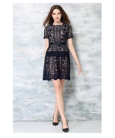 Aliexpress.com : Buy Navy Blue Sexy Transparent Dress Women Short Sleeve Casual Floral Lace Dress O neck Hollow Out Dress Office from Reliable dress long sleeve tunic dress suppliers on JYJ STUDIO | Alibaba Group