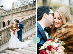 NYC wedding // Bride and groom in Central Park // November wedding in New York City // Bride in a fur shawl // blue and black tuxedo // crimson red peach and ivory wedding bouquet // Aaron and Jillian Photography, Charleston wedding photographer.