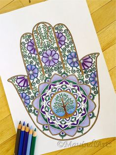 Hand Drawn Adult Coloring Page Print Hamsa Tree of by MauindiArts:
