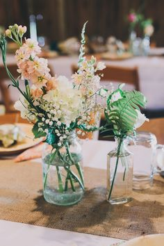 Local Flowers in Vintage Bottles and Jars- North Carolina Mountain Wedding