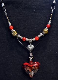 Heart Necklace Murano Glass Red Heart Genuine Leather by LKArtChic