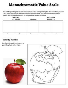 Value Scale Monochromatic Worksheet copy copy worksheet Monochromatic Value Worksheet Middle School Art, High School Art, Painting Lessons, Art Lessons, Drawing Lessons, Elements Of Art Space, Monochromatic Paintings, Value In Art, 6th Grade Art