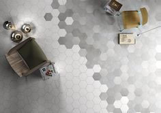 An effect that is popular right now. (2014) We can do it in cement hexagonal tiles.