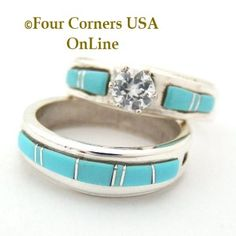 Four Corners USA Online - Turquoise Engagement Bridal Wedding Ring Set Size 7 3/4 Native American Silver Jewelry, $240.00 (http://stores.fourcornersusaonline.com/turquoise-engagement-bridal-wedding-ring-set-size-7-3-4-native-american-silver-jewelry/)