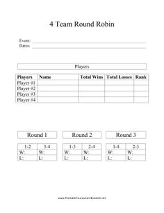 This Printable Round Robin Tournament Bracket Can Be Used To Determine The Winners And Losers For Four Teams In Games Such As Darts Pool