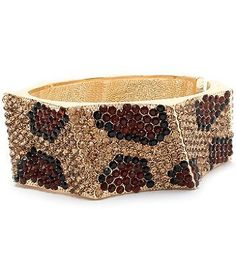 Leopard or Zebra Crystal & Rhinestone Hinged Metal Bangle/bracelet by Jersey Bling ships in Gift Box (Leopard): Jewelry: Amazon.com
