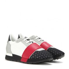 Balenciaga Race Runner Fabric and Leather Sneakers ($545) ❤ liked on Polyvore featuring shoes, sneakers, multicoloured, red trainer, balenciaga sneakers, multi color shoes, leather shoes and green sneakers