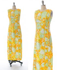 cb52985a3095 Vintage 1960s 60s LILLY Pulitzer Mod Floral Maxi Dress  LillyPulitzer