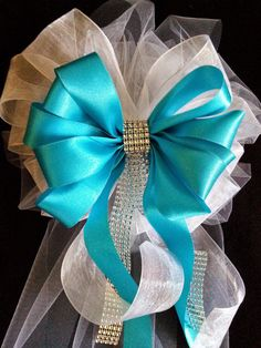 wedding bows any color satin and tulle bows with streamers and bling wedding decorations church pew bows made to order blue and white ? Wedding Ceremony Ideas, Church Wedding Decorations Aisle, Wedding Pews, Church Ceremony, Wedding Centerpieces, Wedding Church, Church Aisle, Tulle Wedding, Wedding White