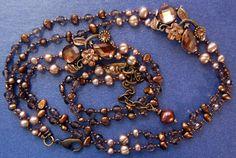 Hand knotted semi precious smokey quartz taupe by jancashdesigns1