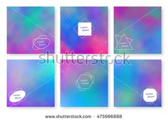 Holographic backgrounds set. Bright backdrop for banners, brochures, flyers, postcards, invitations, booklets. Multicolor template. Colorful wallpaper with gradient. Vector illustration.