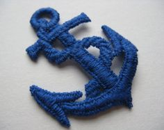 vintage blue anchor applique patch. 1970's embroidered nautical trim. deadstock.