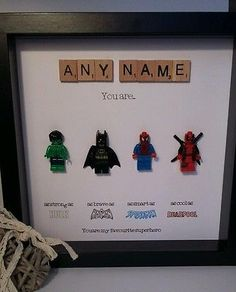 Personalised box picture frame lego superhero fathers day dad daddy grandad