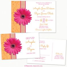 Pink Gerber Daisy and Orange Plaid Ribbon Wedding Invitation and RSVP Postcard by wasootch on Etsy  Fun for a spring or summer wedding with a pink and orange gerbera daisy theme.