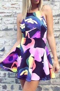 Color Block Print Backless Dress