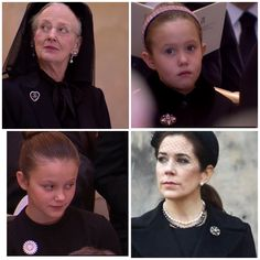 20/02-2018 at the funeral of Prince Henrik queen Margrethe wore a heart brooch, Crown Princess Mary her favorite broch, Princess Isabella for the First time Marguritten and Josephine a beautiful flower broch
