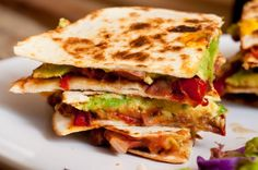 Vegan Quesadillas with Refried Beans, Balsamic Red Peppers and Avocado