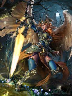 Sword bearer, Hope bearer by quvi on DeviantArt Fantasy Art Women, New Fantasy, Dark Fantasy Art, Fantasy Girl, Fantasy Artwork, Fantasy Female Warrior, Angel Warrior, Female Art, Elf Warrior