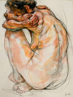 by Sylvie Guillot.  Painting: black Conté pencil and Watercolor
