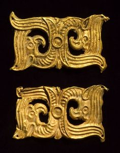 Eurasian gold belt ornaments,Each of shaped rectangular outline, with entwined motifs ending in a pair of confronting grifffins heads. The Steppes, 4th Century BC