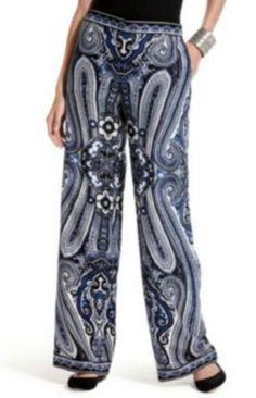 INC International Concepts Wide Straight Leg Dress Pants Blue Paisley Size 14