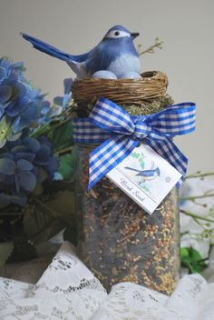 Cute Gift: Darling Bird Seed Jar with diy tutorial...of course, you could use a red cardinal and red checked ribbon or any other combination of your favorite bird.