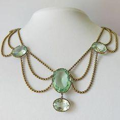 Antique Victorian Large Aquamarine Glass Paste Festoon Dangle Necklace | eBay