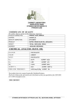 Chemical analysis: olive oil - zeolite olive oil.