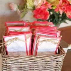 Coral wedding invitations. Drop the twine, but use a white card with black and/or gold font mounted on a coral card.