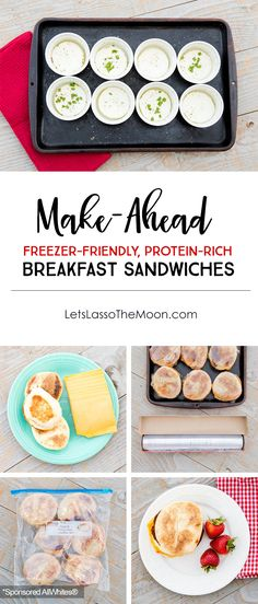 How to Save Time With Easy Make-Ahead Breakfast Sandwiches - Lasso the Moon Protein Rich Breakfast, Healthy Breakfast Options, Breakfast Recipes, High Protein, Make Ahead Breakfast Sandwich, Breakfast For Dinner, Breakfast Sandwiches, Breakfast Burritos, Oats Snacks