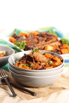 Slow cooked pot roast with butternut squash and dried plums is the ultimate comfort food.  Instructions included for roasting in the oven AND the slow cooker so you can choose what works for you. | The Suburban Soapbox